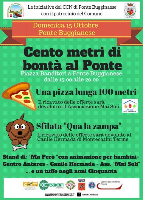 """Cento metri di bontà al Ponte – Una pizza lunga 100 m e Sfilata """"Quà la zampa"""""""
