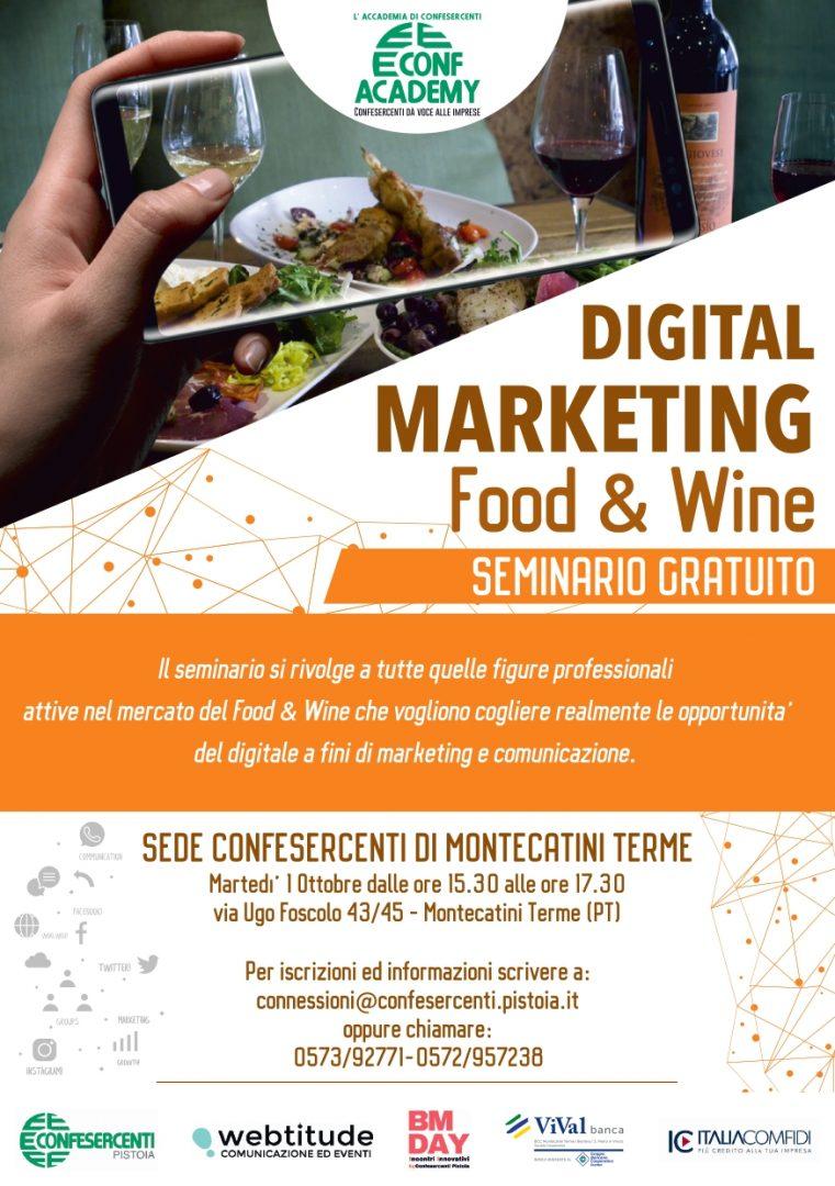 1 OTTOBRE 2019 A MONTECATINI TERME – SEMINARIO GRATUITO SUL DIGITAL MARKETING PER IL FOOD& WINE
