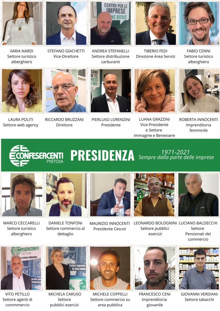 La Presidenza Confesercenti Pistoia 2021