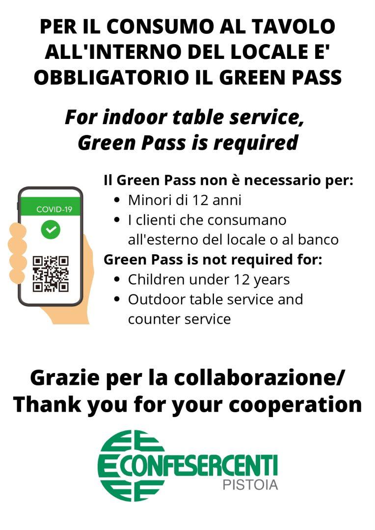 Applicazione Green Pass nei pubblici esercizi – aggiornamento del 9 agosto